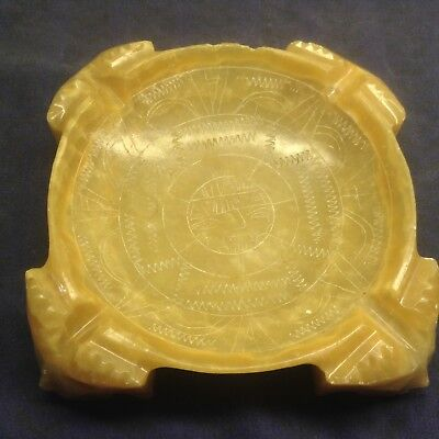 Antique Vintage Carved Stone Ashtray Mayan Aztec Footed Alabaster