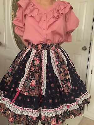 Mauve Square Dance Blouse With Coordinated Floral Skirt With Black Background