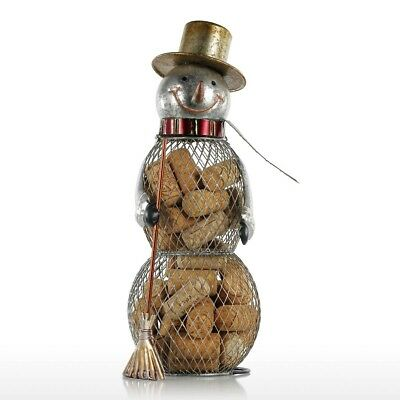Tooarts Christmas Snowman Wine Cork Holder Cage Container Metal Handcrafts