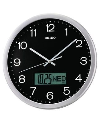 Seiko QXL007A Analogue & Digital Wall Clock with Silent Sweep Second Hand