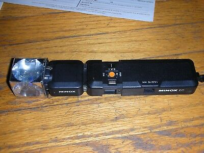 Minox EC miniature spy camera with flash cube adapter