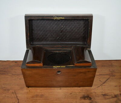 Antique 19Th Century Mahogany And Rosewood Sarcophagus Tea Caddy