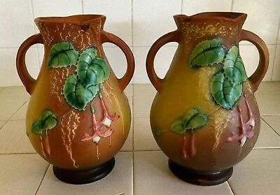 Vintage Pair Of Roseville Brown Fuchsia Vases #895, Hand Numbered
