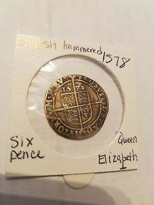 Nice 1578 Elizabeth 1St Silver Sixpence Mm Great Coin! Rare!