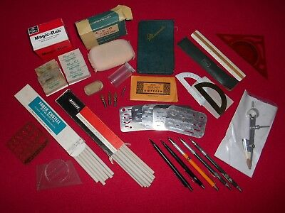 Lot of Vintage Assorted Misc Architect Drafting Drawing Supplies Tools