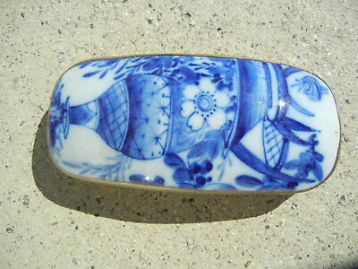 Antique Chinese Porcelain Blue and White Shard Box with Vase Motif