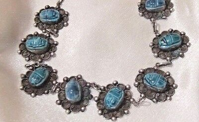 Antique Vntg Sterling Silver Scarab Necklace Egyptian Revival Ancient 10 Faience