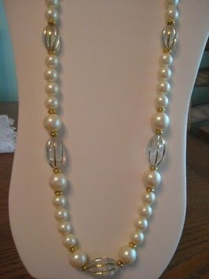 """Stunning Vintage Faux Pearl Gold Tone Bead Necklace 30"""""""