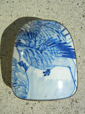 Antique Chinese Porcelain Blue and White Shard Box with Phoenix