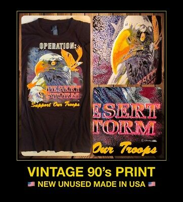 LARGE vTg 90's MADE USA Operation Desert Storm Support Our Troops new T-Shirt