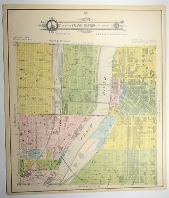 1907 Antique Downtown Grand Rapids Michigan Map - Genealogy - Kent County MI