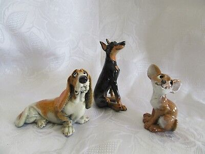 Lot of 3 Kitty's Kennel Figurine Dogs ~ Doberman ~ Basset Hound ~ Chihuahua ~