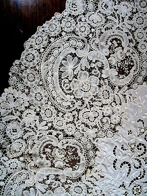 """19th C. round Brussels lace tablecloth 37"""" across color ivory"""