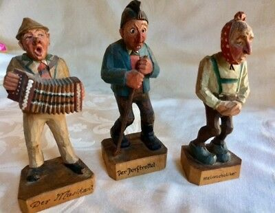 """Three carved wooden figures from Germany, about 5 1/2"""" tall"""