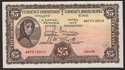 Currency Commmission Ireland, £5 Pounds 1940 War Code A. Good Very Fine