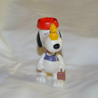 Vintage Snoopy and Woodstock Peanuts Schulz Vinyl Figure Packed and Travelling