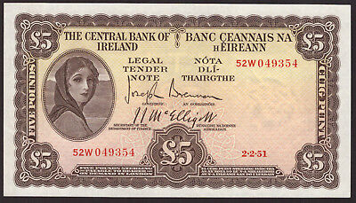 Central Bank of Ireland Five Pounds 1951. Good Very Fine to About Extra Fine