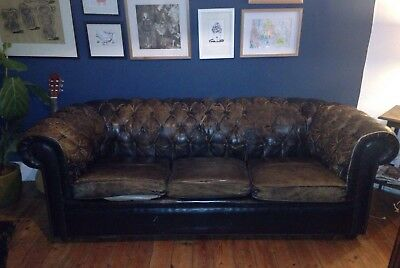 Vintage Leather Distressed Chesterfield 3 Seater Sofa
