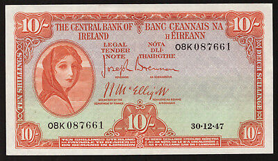 Central Bank of Ireland Ten Shillings. 1947, Nice , GEF to About UNC