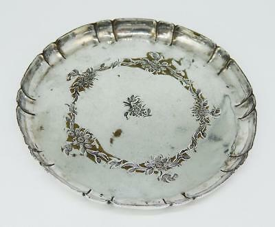 Sweet VICTORIAN SILVER PLATE PIN DISH Floral Pattern c1880