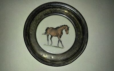"""Sterling Silver and Porcelain/Ceramic Coaster   Image of Horse """"Armed"""" by Savitt"""