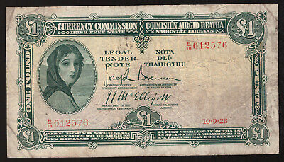 Currency Commission Irish Free State £1 One Pound 1928, first date. About Fine