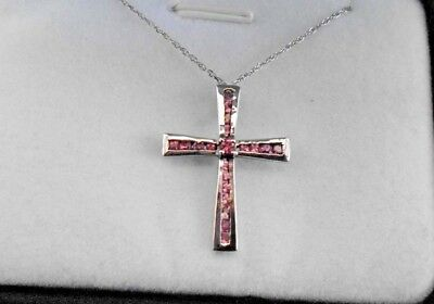 Pink Tourmaline Cross Pendant (0.54 cts) & Chain in Platinum O/L Sterling Silver