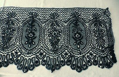 Antique Black Chantilly Lace Trim - 4 Yards Very Wide - Sewing