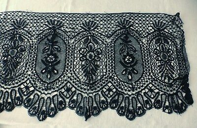 Antique Black Le Puy Lace Trim - 4 Yards Very Wide - Sewing Silk Guipure
