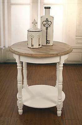 Lamp Table French Provincial Round Side Table Antique White with Timber Top