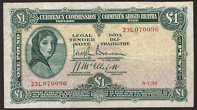 Currency Commission Ireland £1 Pound Note 1939 About Very Fine