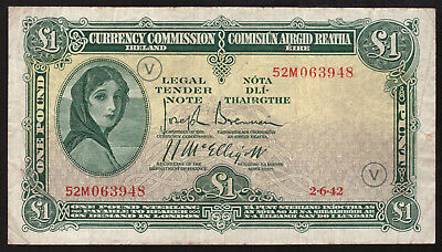 Currency Commmission Ireland, One Pound 1942 War Code V. About VF