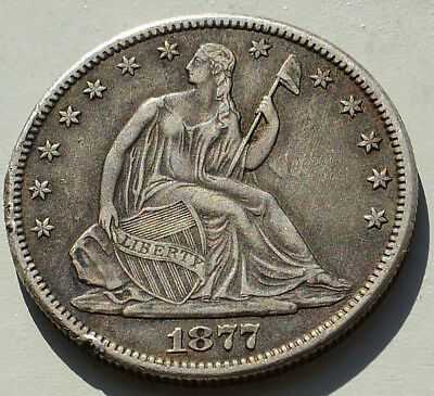 1877 cc seated liberty US half Dollar, High grade Carson City. Nice Cameo type