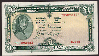 Central Bank of Ireland One Pound 1948. About Extra Fine