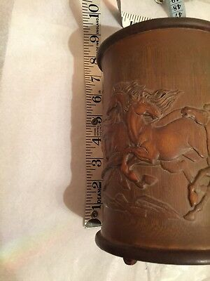 Chinese Wood Carved With Horses and Signed Brush Pot Pencil Container Vase