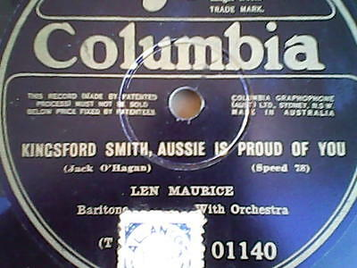 SIR CHARLES KINGSFORD SMITH. COLOUMBIA 78RPM RECORD.free shipping.