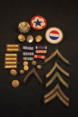WWII Army LOT Insignia, Ribbons, Overseas Bars, Buttons, Rank Patches No Reserve