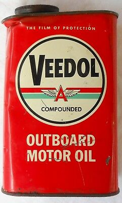 Vintage VEEDOL OUTBOARD MOTOR OIL Tin - Empty 1-Qt. Metal Can