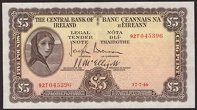Central Bank of Ireland Five Pounds 1946. Top end GVF