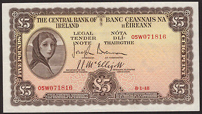 Central Bank of Ireland Five Pounds 1948. Nice EF