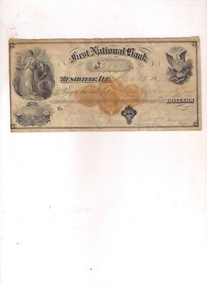 1874 First National Bank RUSHVILLE, ILLINOIS bank check