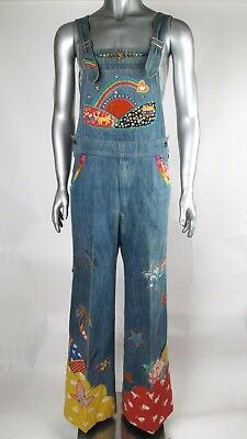 70s Vintage KIM WONG Rhinestone, Embroidery & Applique Wide Bell Bottom Overalls