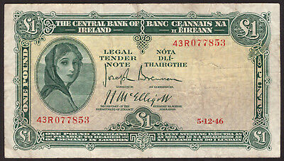 Central Bank of Ireland One Pound 1946. Nice Fine