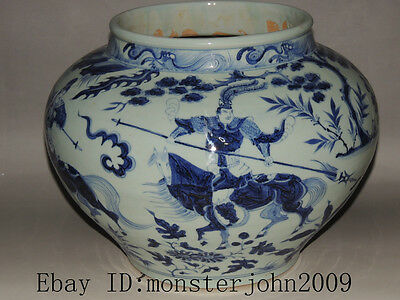 Rare Chinese blue&white porcelain jar with Characters in the story