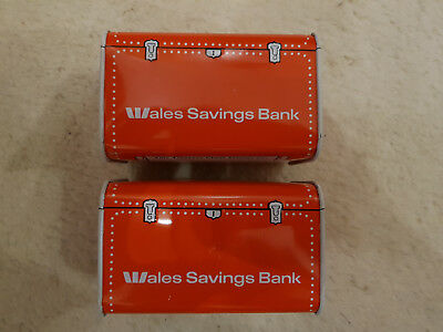 "Pair of vintage ""Wales Savings Bank"" money boxes! Pre 1981. Orange ""Chest"" type"