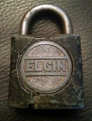 ELGIN Lock Co Rustic Padlock LOCK Vintage Antique Display (NO KEY)
