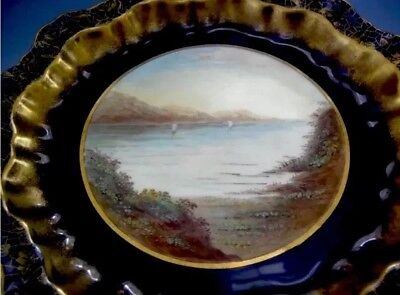 French antique hand painted 22k gold encrusted pedestal Bonbon 1888 use/display
