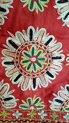 Authentic Antique Suzani Central Asia Hand made Embroidery Wall Hanging
