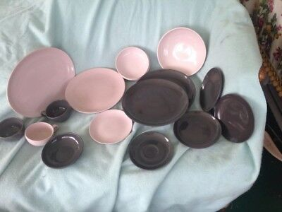 4 Russel Wright Steubenville Mid Century Chocolate Brown  Pink bowls