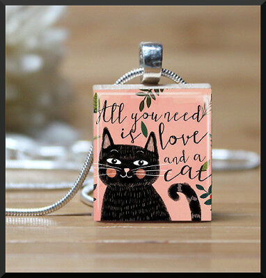 """""""all You Need Is Love And A Cat"""" Scrabble Tile Pendant With Snake Chain Necklace"""